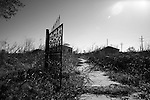 January 30, 2008. New Orleans, LA..The gate to a house is all that remains of the structure in the Lower 9th Ward of New Orleans on the eve of the 2nd Mardi Gras since Hurricane Katrina devastated the city,