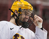 Jake Bischoff (MN - 28) - The University of Minnesota Golden Gophers practiced on Wednesday, April 9, 2014, at the Wells Fargo Center in Philadelphia, Pennsylvania during the 2014 Frozen Four.