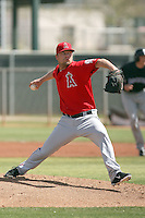Trevor Bell of the Los Angeles Angels plays in a minor league spring training game against the Colorado Rockies at the Angels minor league complex on March 18, 2011  in Tempe, Arizona. .Photo by:  Bill Mitchell/Four Seam Images.