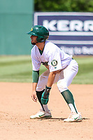 Beloit Snappers second baseman Joseph Pena (15) leads off first base during a Midwest League game against the Cedar Rapids Kernels on June 2, 2019 at Pohlman Field in Beloit, Wisconsin. Beloit defeated Cedar Rapids 6-1. (Brad Krause/Four Seam Images)