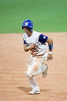 20 August 2007: #25 Jerome Rousseau runs the base during the Czech Republic 6-1 victory over France in the Good Luck Beijing International baseball tournament (olympic test event) at the Wukesong Baseball Field in Beijing, China.