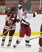 Katelyn Kurth (BC - 14), Liza Ryabkina (Harvard - 3) - The Harvard University Crimson defeated the Boston College Eagles 5-0 in their Beanpot semi-final game on Tuesday, February 2, 2010 at the Bright Hockey Center in Cambridge, Massachusetts.