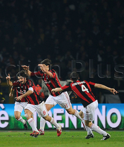 05 03 2011 Turin, Italy.   Series A Juventus versus AC Milan  Photo shows the celebrations for his goal by Gennaro Gattuso with Ibrahimovic