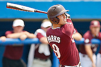 June 11, 2011:    Mississippi State Bulldogs inf Jarrod Parks (9) follows through on a swing during NCAA Gainesville Super Regional Game 2 action between Florida Gators and Mississippi State Bulldogs played at Alfred A. McKethan Stadium on the campus of Florida University in Gainesville, Florida.   Mississippi State defeated Florida 4-3.........