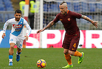 Roma&rsquo;s Radja Nainggolan, right, is chased by Napoli&rsquo;s Lorenzo Insigne during the Italian Serie A football match between Roma and Napoli at Rome's Olympic stadium, 4 March 2017. <br /> UPDATE IMAGES PRESS/Riccardo De Luca