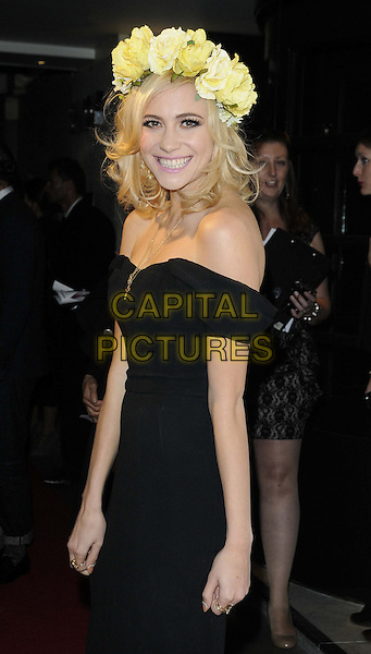 Victoria Louise 'Pixie' Lott.The WGSN Global Fashion Awards, Savoy Hotel, The Strand, London, England..November 5th, 2012.half length black dress off the shoulder yellow white flowers hairband headband crown side .CAP/CAN.©Can Nguyen/Capital Pictures.