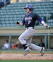 Shortstop Aaron Attaway (2) of the Western Carolina Catamounts in a game against the Cincinnati Bearcats on Sunday, February 24, 2013, at Fluor Field in Greenville, South Carolina. Cincinnati won in 10 innings, 7-6. (Tom Priddy/Four Seam Images)