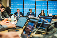 "Press update on the situation regarding 2019-nCoV, held at WHO HQ, Geneva, with Dr Tedros Adhanom  Ghebreyesus, WHO Director-General, Michael Ryan, Executive DIrector WHO Health Emergencies Programme, and Dr Maria van Kerkhove, Technical Lead, WHO Health Emergencies Programme. Questions were taken by phone, including New York Times, the Daily Telegraph,  and in the room, by amongst others, Xinhua, the Chinese state news agency ""what do you have to say to the people of Wuhan who are sacrificing themselves for the world"", and China CCTV ""Do you not condemn the strike by health workers in Hong Kong"" as seen in this image."