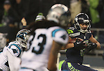 Seattle Seahawks wide receiver Jermaine Kearse (15) out runs the Carolina Panthers secondary to score on a 63-yard touchdown pass in  the NFC Western Division Playoffs at CenturyLink Field in Seattle, Washington on January 10, 2015.  The Seahawks beat the Panthers 31-17. ©2015. Jim Bryant Photo. All Rights Reserved.