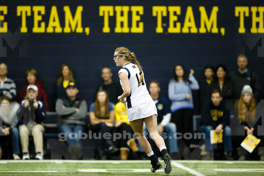 The University of Michigan women's lacrosse team play Marquette at Oosterbaum Field House in Ann Arbor, Mich. on Feb. 28, 2014.