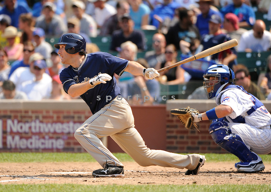 CHRIS DENORFIA, of the San Diego Padres, in action during the Padres game against the Chicago Cubs at Wrigley Field in Chicago, IL. on August 19, 2010.   The Padres win the game 5-3....