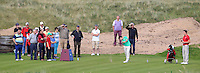 Dermot McElroy (IRL) on the 14th tee during the Afternoon Singles between Ireland and Wales at the Home Internationals at Royal Portrush Golf Club on Thursday 13th August 2015.<br /> Picture:  Thos Caffrey / www.golffile.ie