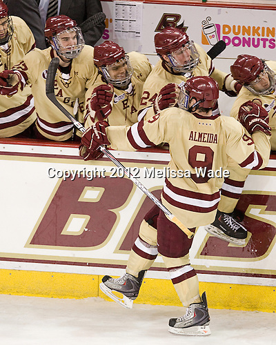 Destry Straight (BC - 17), Quinn Smith (BC - 27), Bill Arnold (BC - 24), Barry Almeida (BC - 9) - The Boston College Eagles defeated the visiting University of New Hampshire Wildcats 4-3 on Friday, January 27, 2012, in the first game of a back-to-back home and home at Kelley Rink/Conte Forum in Chestnut Hill, Massachusetts.