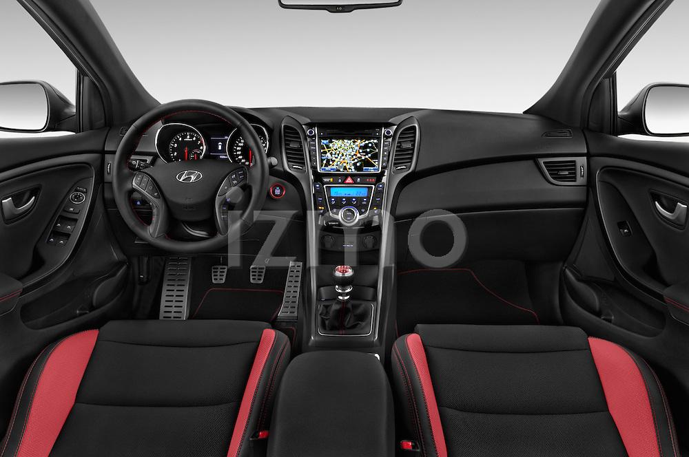 Stock photo of straight dashboard view of 2015 Hyundai I30 Turbo 5 Door Hatchback