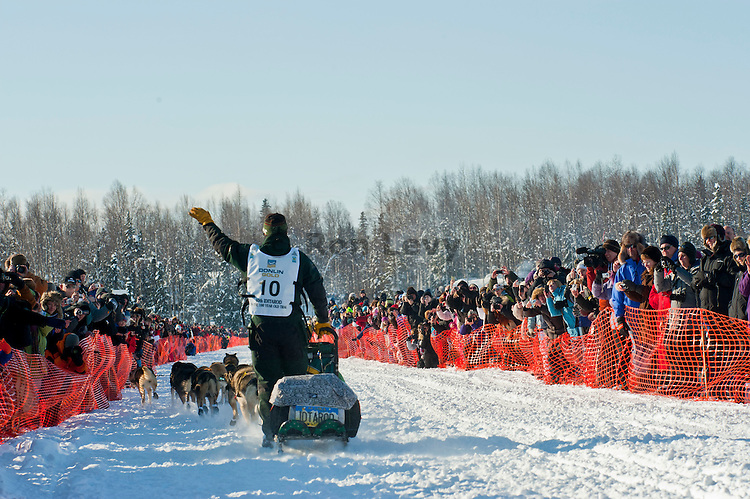 4-time Iditarod champ Jeff King leaving the gate at Restart of Iditarod 2012, Willow, Alaska, March 4, 2012