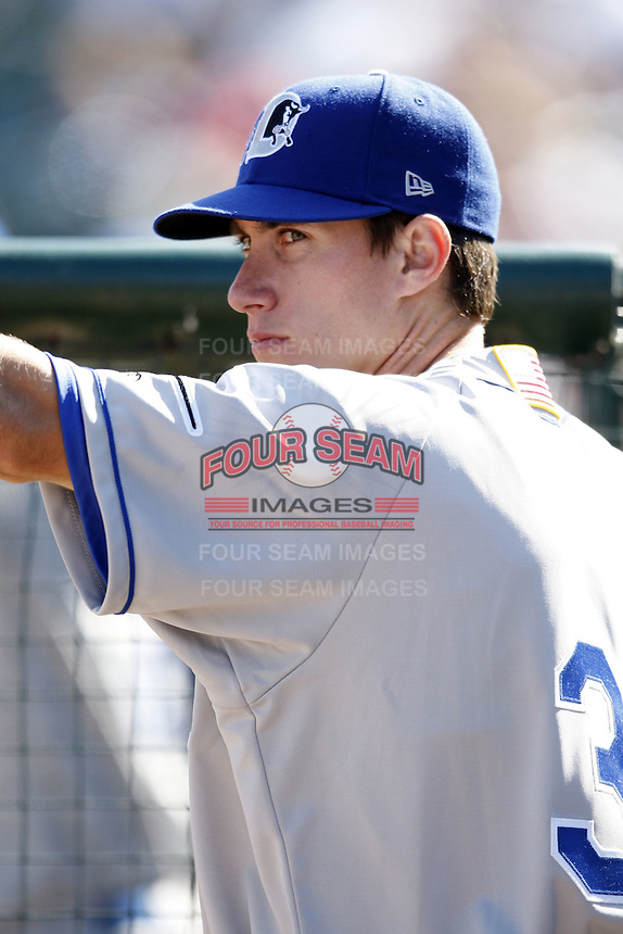 May 25, 2009:  Matt Hall of the Durham Bulls, International League Triple-A affiliate of the Tampa Bay Rays, in the dugout during a game at Frontier Field in Rochester, NY.  Photo by:  Mike Janes/Four Seam Images