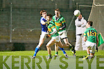 Kerins O'Rahilly's David Moran gets his pass away against John Mitchels John Horgan in action at Austin Stack park, Tralee on Saturday.