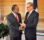 Singapore Foreign Minister Shanmugam meets with Australian Foreign Affairs Minister Bob Carr in his office at Parliament House Canberra, Monday September 10th 2012. AFP PHOTO / Mark GRAHAM