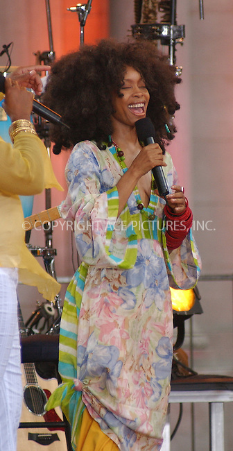 WWW.ACEPIXS.COM . . . . . ....NEW YORK, JULY 15, 2005....Erykah Badu performing live on the A.B. C. Good Morning American Show in Bryant Park.....Please byline: KRISTIN CALLAHAN - ACE PICTURES.. . . . . . ..Ace Pictures, Inc:  ..Craig Ashby (212) 243-8787..e-mail: picturedesk@acepixs.com..web: http://www.acepixs.com
