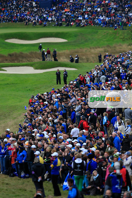 Fans during the Sunday Singles Matches at the 2014 Ryder Cup at Gleneagles. The 40th Ryder Cup is being played over the PGA Centenary Course at The Gleneagles Hotel, Perthshire from 26th to 28th September 2014.: Picture Thos Caffrey, www.golffile.ie: \28/09/2014\