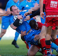 12th January 2020; RDS Arena, Dublin, Leinster, Ireland; Heineken Champions Cup Rugby, Leinster versus Lyon Olympique Universitaire; Rhys Ruddock of Leinster is tackled by Jean-Marcellin Buttin of Lyon - Editorial Use