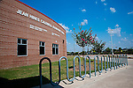 A lonely bike rack outside Jean Hines Caldwell Elementary awaits students to return for the new year.