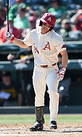 NWA Democrat-Gazette/CHARLIE KAIJO Arkansas Razorbacks outfielder Dominic Fletcher (24) reacts during a baseball game, Sunday, March 17, 2019 at Baum-Walker Stadium in Fayetteville.