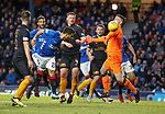 24.11.2018 Rangers v Livingston: Daniel Candeias heads past Liam Kelly to open the scoring