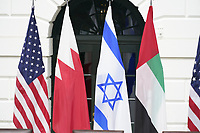 "Flags of the United States, Bahrain, Israel and the United Arab Emirates as United States President Donald J. Trump and First lady Melania Trump host a signing ceremony of the ""Abraham Accords"" on the South Lawn of the White House in Washington, DC on Tuesday, September 15, 2020.  The Trumps are joined by Prime Minister Benjamin Netanyahu of Israel; Sheikh Abdullah bin Zayed bin Sultan Al Nahyan, Minister of Foreign Affairs and International Cooperation of the United Arab Emirates; and Dr. Abdullatif bin Rashid Alzayani, Minister of Foreign Affairs, Kingdom of Bahrain.<br /> Credit: Chris Kleponis / Pool via CNP /MediaPunch"
