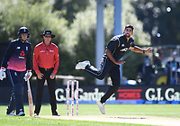 Ish Sodhi bowling.<br /> New Zealand Black Caps v England, ODI series, University Oval in Dunedin, New Zealand. Wednesday 7 March 2018. &copy; Copyright Photo: Andrew Cornaga / www.Photosport.nz
