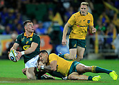 9th September 2017, nib Stadium, Perth, Australia; Supersport Rugby Championship, Australia versus South Africa; Israel Folau of the Australian Wallabies tackles Jesse Kriel of the South African Springboks during the second half