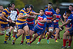 Siosiua Pole charges upfield for Patumahoe. Counties Manukau Premier Club Rugby game between Patumahoe and Ardmore Marist, played at Patumahoe, on Saturday June 07 2014. Patumahoe won the game 23- 3 after being 3 all at halftime  Photo by Richard Spranger