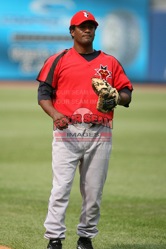 June 12th 2008:  Catcher Michel Hernandez of the Indianapolis Indians, Class-AAA affiliate of the Pittsburgh Pirates, during a game at Fifth Third Field in Toledo, OH.  Photo by:  Mike Janes/Four Seam Images
