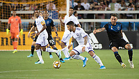 SAN JOSE,  - SEPTEMBER 1: Dom Dwyer  #14 of the Orlando City SC and Guram Kashia #37 of the San Jose Earthquakes during a game between Orlando City SC and San Jose Earthquakes at Avaya Stadium on September 1, 2019 in San Jose, .