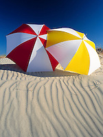 Tunisia, Djerba: two sunshades, beach; dune