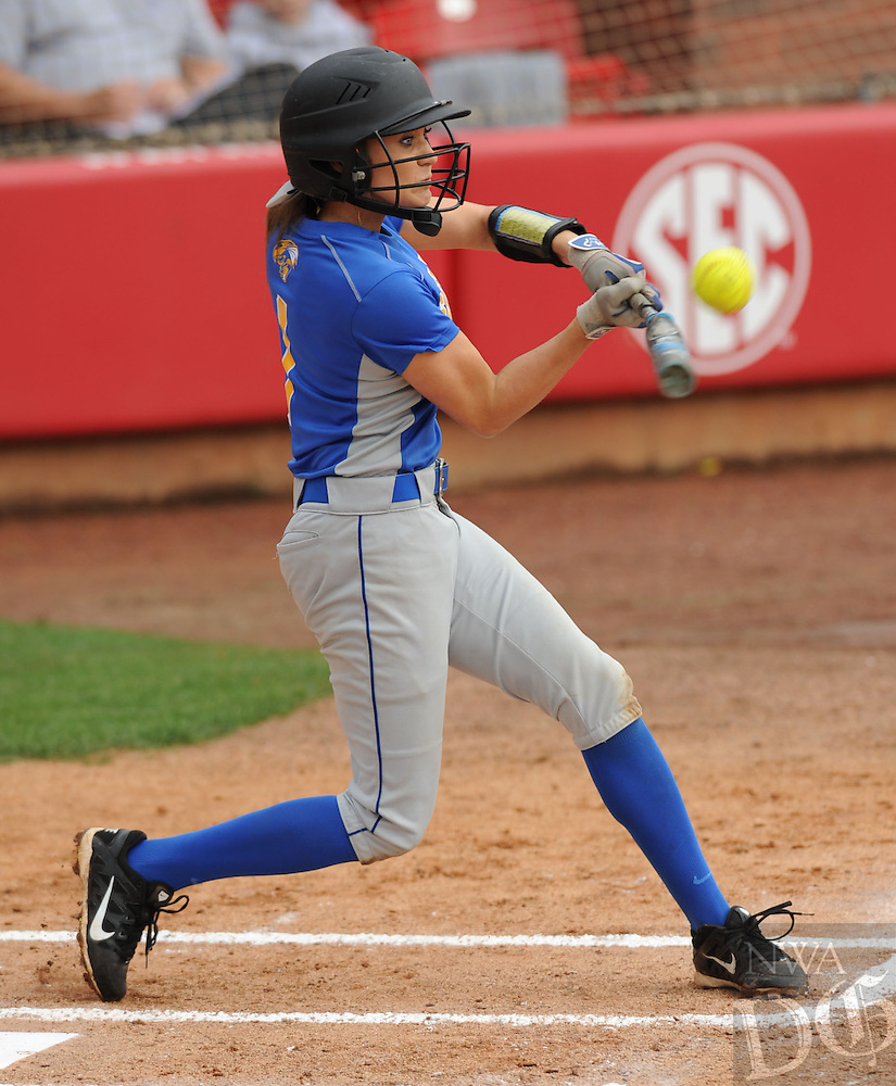 NWA Democrat-Gazette/ANDY SHUPE<br /> Maggie Hicks of Sheridan connects for a single against Greenwood Saturday, May 23, 2015, during the inning of the Class 6A state championship game at Bogle Park on the campus of the University of Arkansas in Fayetteville. Visit nwadg.com/photos to see more photographs from the game.