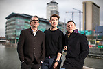 "© Joel Goodman - 07973 332324 . 22/01/2018 . Salford , UK . MIKE JOYCE , CRAIG GANNON and BOB RILEY ( Chief Executive of Manchester Camerata ) . Former band members of the Smiths and Manchester Camerata were reported to be joining forces to create "" Classically Smiths "" which would have seen Smiths songs played live to a classical orchestral backing but now bass player Andy Rourke has said he knew nothing of the project and was never invited in the first place . Photo credit : Joel Goodman"