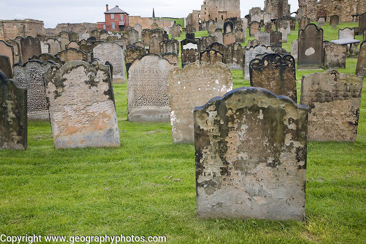 Eighteenth and nineteenth century gravestones at Tynemouth priory, Northumberland, England