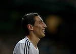 Real Madrid's Argentinian midfielder Angel di Maria gestures during the Spanish league football match Real Madrid Madrid vs U.D Almeria at the Santiago Bernabeu stadium in Madrid on April 12, 2014  PHOTOCALL3000 / DP