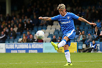 Darren Oldaker of Gillingham kicks the ball upfield during Gillingham vs Portsmouth, Sky Bet EFL League 1 Football at the MEMS Priestfield Stadium on 8th October 2017