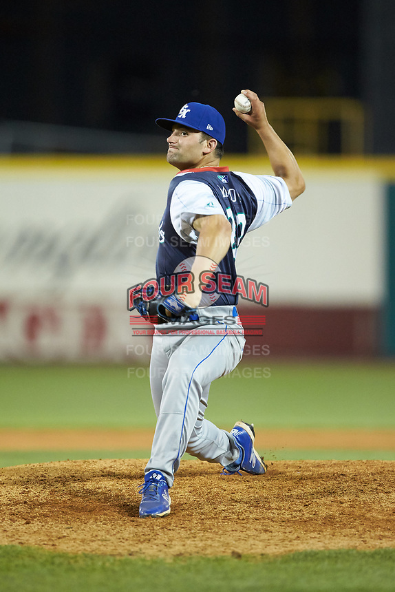 Lexington Legends relief pitcher Sal Biasi (22) in action against the West Virginia Power at Appalachian Power Park on June 7, 2018 in Charleston, West Virginia. The Power defeated the Legends 5-1. (Brian Westerholt/Four Seam Images)