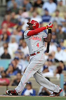 Brandon Phillips #4 of the Cincinnati Reds bats against the Los Angeles Dodgers at Dodger Stadium on July 3, 2012 in Los Angeles, California. Los Angeles defeated Cincinnati 3-1. (Larry Goren/Four Seam Images)