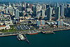 Aerial views of San Diego's Waterfront District, Quallcomm Stadium and Downtown