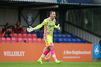 Goalkeeper Scott Brown of Wycombe Wanderers gives fans a chance to see the new shirt during the pre season friendly match between Aldershot Town and Wycombe Wanderers at the EBB Stadium, Aldershot, England on 22 July 2017. Photo by Andy Rowland.