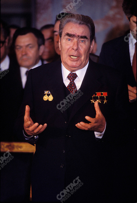 Leonid Brezhnev, Soviet premier. Paris, France, July 1977