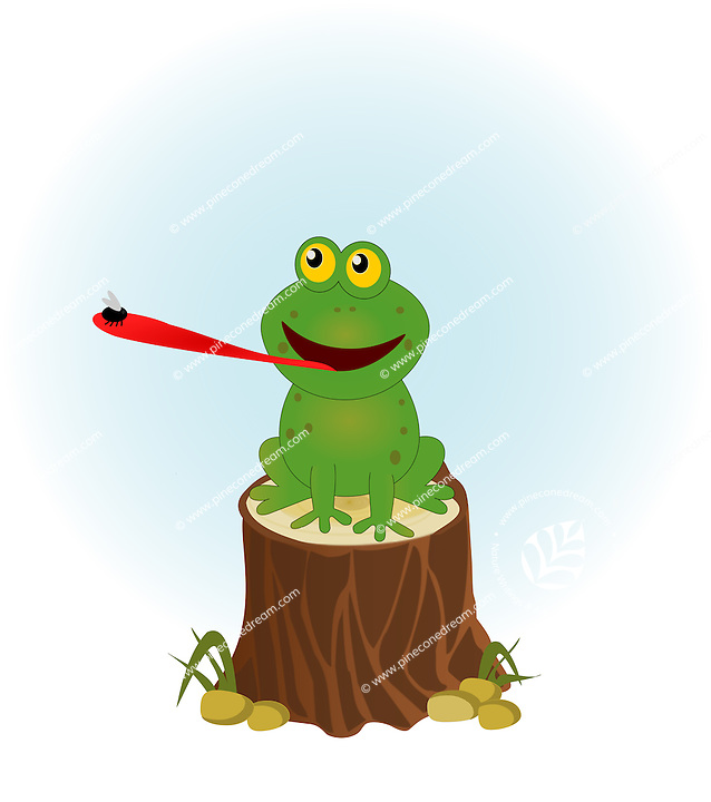 Vector illustration of a cute frog extending tongue for catching a fly, sitting of a tree stump.<br />