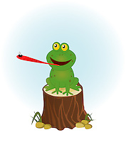Vector illustration of a cute frog extending tongue for catching a fly, sitting of a tree stump.<br /> <br /> This image is also available as scalable EPS and PNG format (with transparent background).