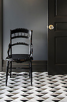 Arbus, a hand-cut stone mosaic, shown in polished Soccoro Grey, Nero Marquina, Carrara, and honed Cavern, is part of The Studio Line of Ready to Ship mosaics.