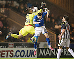 St Mirren v St Johnstone...25.03.14    SPFL<br /> Mario Kello fumbles under pressure from Steven MacLean<br /> Picture by Graeme Hart.<br /> Copyright Perthshire Picture Agency<br /> Tel: 01738 623350  Mobile: 07990 594431