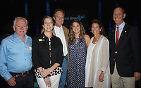 NWA Democrat-Gazette/CARIN SCHOPPMEYER Brian Crowne (from left), Jennifer Ross, Neal Pendergraft, Rachel Pendergraft, Gina Pendergraft and Peter Lane gather for a photo at a reception to announce the West Street Live Series presented by Neal Pendergraft on June 14 at the Walton Arts Center.